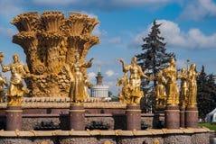 Der Brunnen der Freundschaft von Nationen in Moskau, Russland Stockfotografie