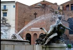 Der Brunnen der Najaden auf Marktplatz della Repubblica in Rom stockbilder