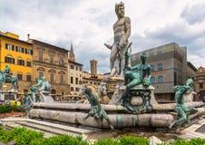Der Brunnen von Neptun in Marktplatz della Signoria in Florenz Stockfoto