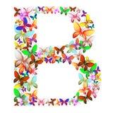Der Buchstabe B bildete von den vielen Schmetterlingen von verschiedenen Farben stock abbildung