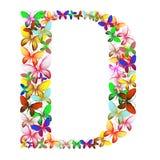 Der Buchstabe D bildete von den vielen Schmetterlingen von verschiedenen Farben vektor abbildung