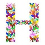 Der Buchstabe H bildete von den vielen Schmetterlingen von verschiedenen Farben stock abbildung