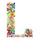 Der Buchstabe L bildete von den vielen Schmetterlingen von verschiedenen Farben vektor abbildung