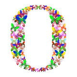 Der Buchstabe O bildete von den vielen Schmetterlingen von verschiedenen Farben stock abbildung
