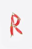 Der Buchstabe R auf einem weißen Hintergrund Stockbild