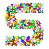 Der Buchstabe S bildete von den vielen Schmetterlingen von verschiedenen Farben stock abbildung