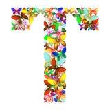 Der Buchstabe T bildete von den vielen Schmetterlingen von verschiedenen Farben vektor abbildung