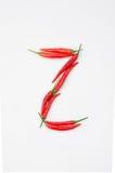 Der Buchstabe Z auf einem weißen Hintergrund Stockfoto
