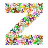 Der Buchstabe Z bildete von den vielen Schmetterlingen von verschiedenen Farben vektor abbildung