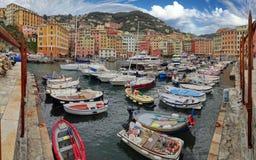 Der bunte Camogli-Jachthafen lizenzfreie stockbilder