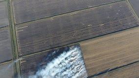 Der Burning des Reisstrohs auf den Gebieten Rauchen Sie vom Burning des Reisstrohs in den Kontrollen Feuer auf dem Feld Lizenzfreies Stockfoto