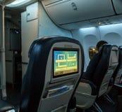 Der Business-Class-Sitz, Airbus Boeing 737 von Emiraten bei Dubai Lizenzfreie Stockbilder