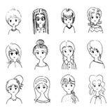 Der Charakter der Illustrations-netten Frauen Stockfoto