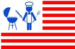 Der Chef, der bbq-Grill mit Rot bildet, stripes Hintergrund vektor abbildung
