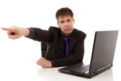 Der Chef zeigt seinen Finger: Sie werden gefeuert Lizenzfreies Stockbild