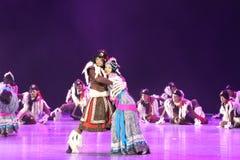 Der 10. China-Kunstfestival-Tanzwettbewerb - tibetanischer Tanz Stockfoto
