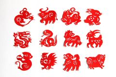 Der chinesische Tierkreis, 12 Tierkreis-Tiere, chinesisches Papercutting Stockfoto