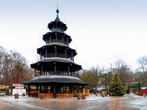 Der chinesische Turm in München, Deutschland stockfotos