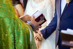 Der christliche Priester, der eine Bibel hält lizenzfreies stockbild
