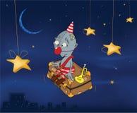 Der Clown fliegt auf einen Koffer. Feierliche Nacht. C Lizenzfreies Stockbild