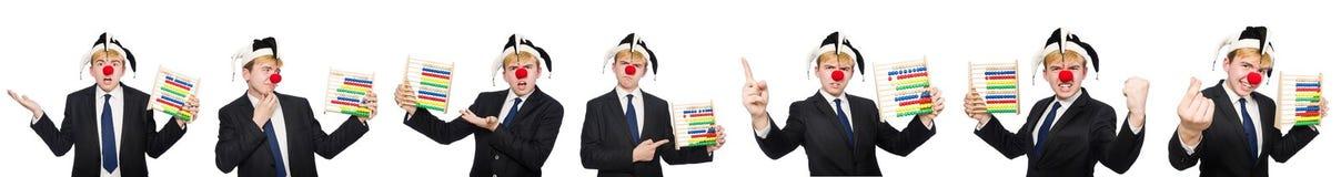 Der Clown mit dem Abakus lokalisiert auf Weiß Stockbild