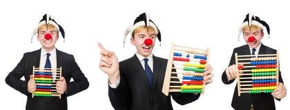 Der Clown mit dem Abakus lokalisiert auf Weiß Stockbilder