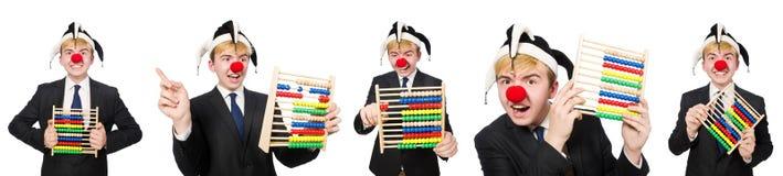 Der Clown mit dem Abakus lokalisiert auf Weiß Lizenzfreies Stockfoto