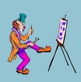 Der Clown zeichnet auf Segeltuch Lizenzfreie Stockfotografie