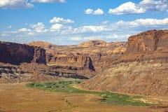 Der Colorado-Wicklung durch die Schluchten von Moab Stockbild