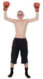 Der dünne Boxer in den Handschuhen Stockfotos