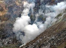 Der Dampf von den Geysiren Gefrorene Lava des Vulkans Tal der Geysire Kronotsky-Zustands-Naturreservat Halbinsel Kamtschatka lizenzfreie stockfotos