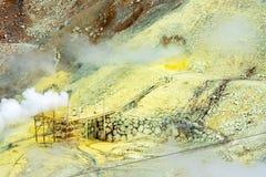 Der Dampf von den Geysiren Owakudani, Nationalpark Hakone, Japan Kopieren Sie Raum für Text stockfotografie