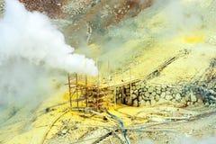 Der Dampf von den Geysiren Owakudani, Nationalpark Hakone, Japan Kopieren Sie Raum für Text lizenzfreie stockfotografie