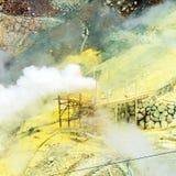 Der Dampf von den Geysiren Owakudani, Nationalpark Hakone, Japan Kopieren Sie Raum für Text stockfotos