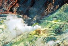 Der Dampf von den Geysiren Owakudani, Nationalpark Hakone, Japan Kopieren Sie Raum für Text lizenzfreie stockbilder