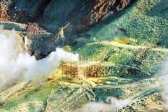 Der Dampf von den Geysiren Owakudani, Nationalpark Hakone, Japan Kopieren Sie Raum für Text lizenzfreie stockfotos