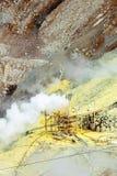 Der Dampf von den Geysiren Owakudani, Nationalpark Hakone, Japan Kopieren Sie Raum für Text vertikal stockfotos