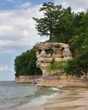 Der dargestellte Kapellen-Felsen schaukelt Michigan Stockfotografie