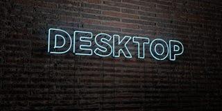 Der DESKTOP - realistische Leuchtreklame auf Backsteinmauerhintergrund - 3D übertrug freies Archivbild der Abgabe Stockfotos
