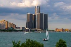 Der Detroit-Flussufer angesehen von Ontario, Kanada stockbild