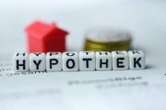 Der deutsches Wort-Hypothecary Kredit, der durch Alphabet gebildet wird, blockiert: Hypothek Stockbilder