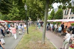 Der Deventer-Buchmarkt in den Niederlanden am 3. August 2014 Die gedrängte Promenade mit den Leuten, welche die Buchställe reinig Lizenzfreie Stockfotografie