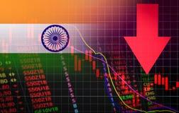 Der Devisenmarktkrise Indiens Bombay roter Marktpreis hinunter Diagrammfall Geschäft und Finanzgeldkrisenhintergrundrot lizenzfreie abbildung