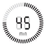 Der digitale Timer 45 Minuten elektronische Stoppuhr mit einer Steigungsskala, die Vektorikone, Uhr und Armbanduhr, Timer, Count- lizenzfreie abbildung