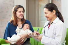 Der Doktor der Kinder, der neugeborenes Baby auf den Armen der Mutter überprüft Lizenzfreies Stockfoto