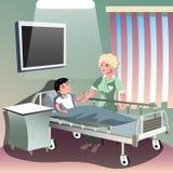 Der Doktor, der um Patienten im Bezirk des Krankenhauses sich kümmert vektor abbildung