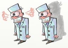 Der Doktor in einer starken Raserei Lizenzfreie Stockfotografie