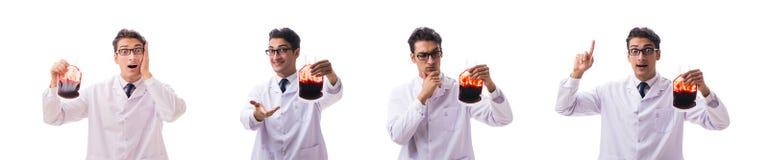 Der Doktor im Blutspendenkonzept lokalisiert auf Weiß lizenzfreie stockfotos