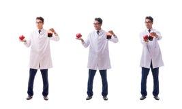 Der Doktor im Blutspendenkonzept lokalisiert auf Weiß lizenzfreies stockfoto
