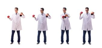 Der Doktor im Blutspendenkonzept lokalisiert auf Weiß stockfotografie